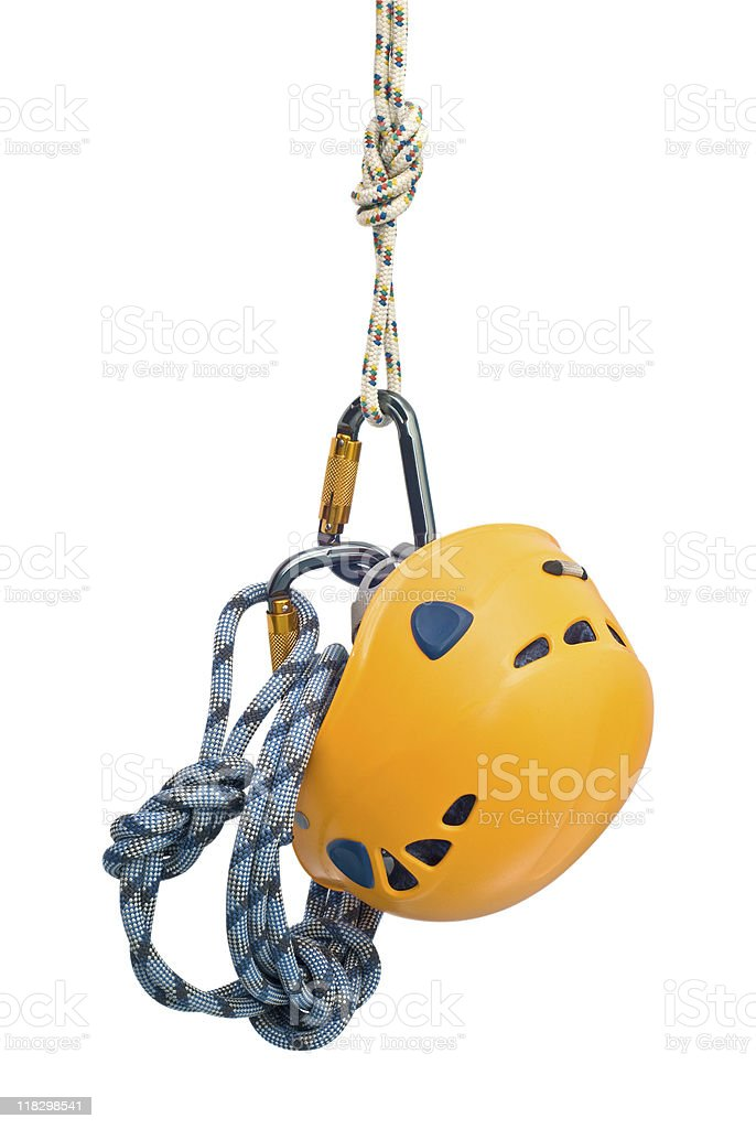 Climbing equipment hanging from the air by a rope royalty-free stock photo