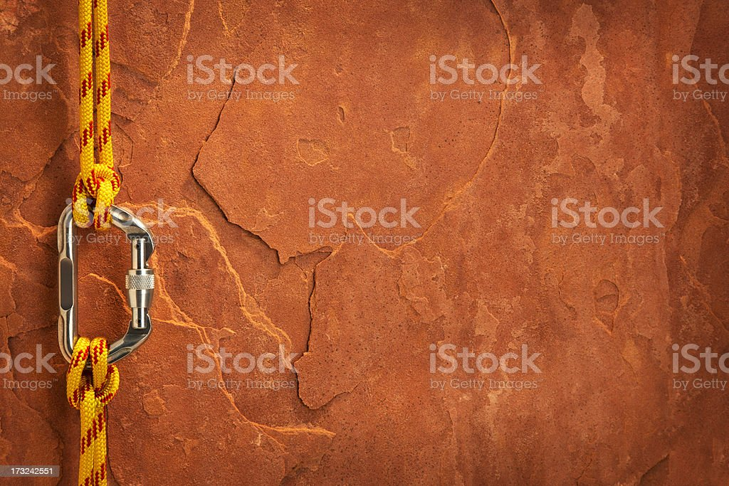 Climbing Equipment on a Red Rock stock photo