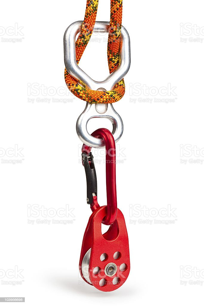 Climbing equipment - pulley, rope, carabiner, figure eight stock photo