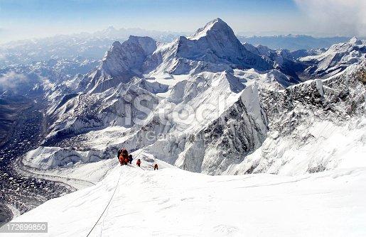 Mountaineers climbing Everest