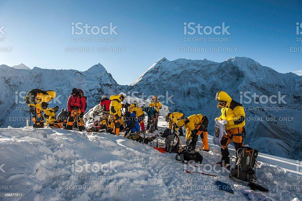 climbing in Himalayas stock photo