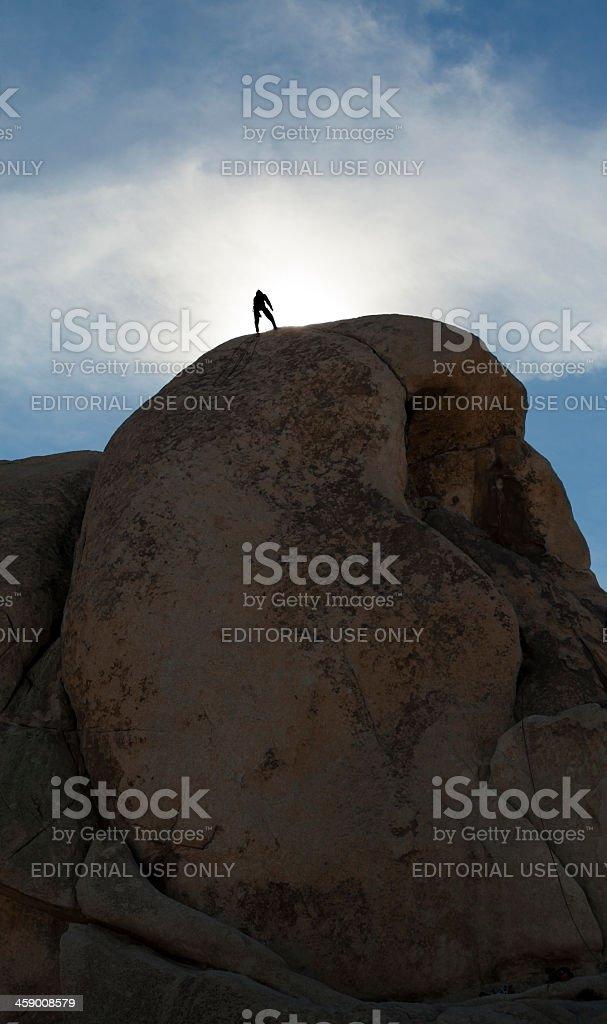 Climbing Joshua Tree national park royalty-free stock photo