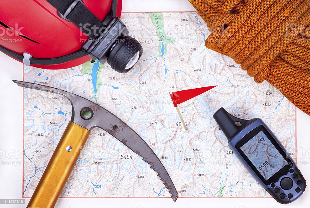 Climbing map with climbing equipment royalty-free stock photo