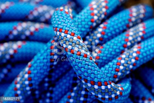 Close up view of a tied climbing rope.