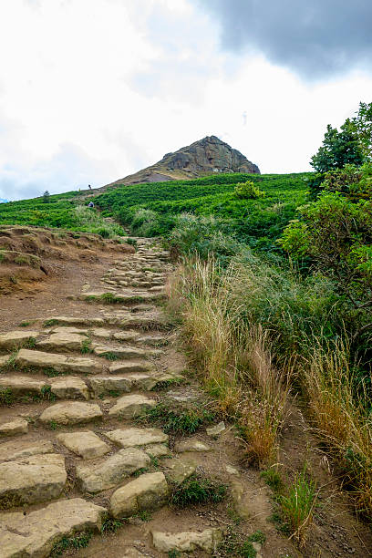 Climbing Roseberry Topping North Yorkshire stock photo