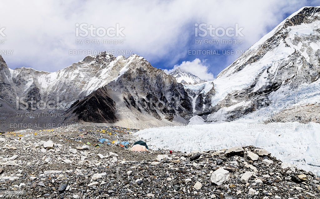 Climbing season at Everest Base Camp and Khumbu Glacier Nepal royalty-free stock photo