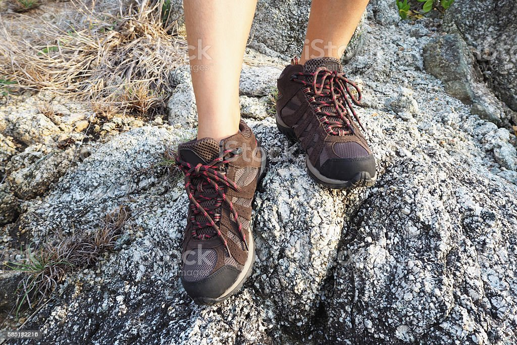 Climbing shoes for trekking in mountain stock photo