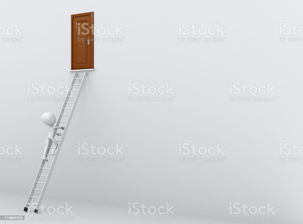 Climbing star to a closed door royalty-free stock photo