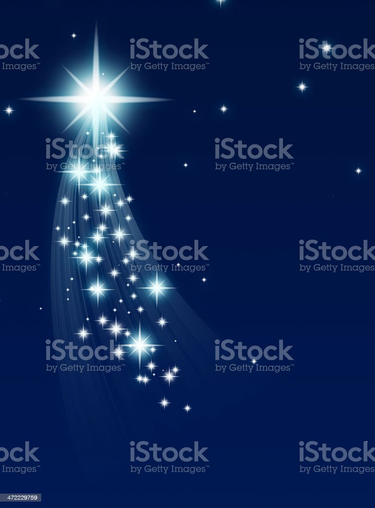 Climbing star with trail of small stars on blue background stock photo