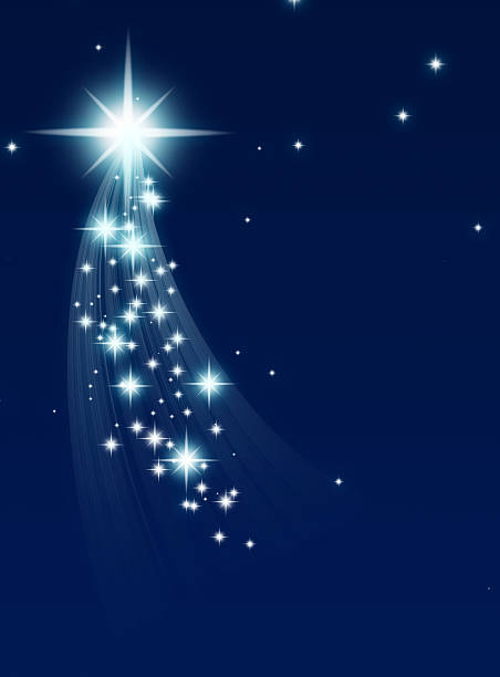 climbing star with trail of small stars on blue background - shooting stars stock photos and pictures