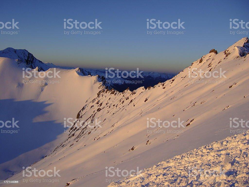 Climbing Stok Kangri at sunset stock photo