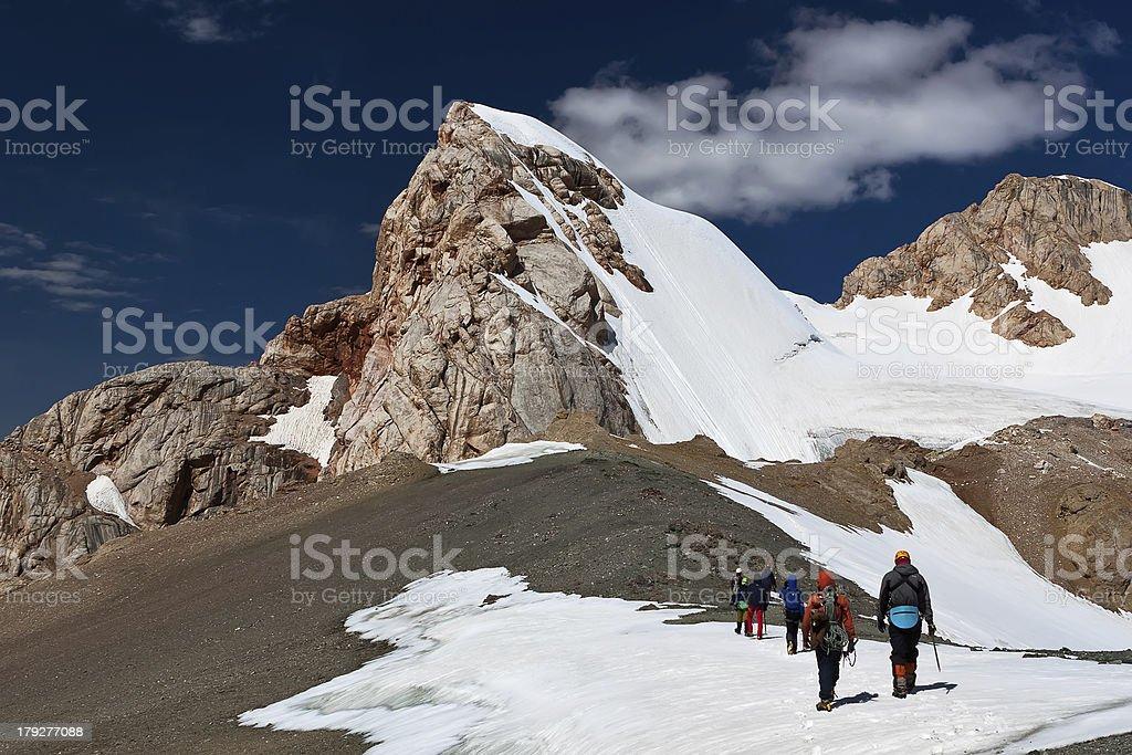 Climbing the ascent stock photo