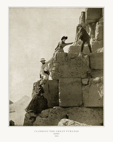 Antique Egypt Photograph: Climbing the Great Pyramid, Cairo, Egypt, 1893. Source: Original edition from my own archives. Copyright has expired on this artwork. Digitally restored.