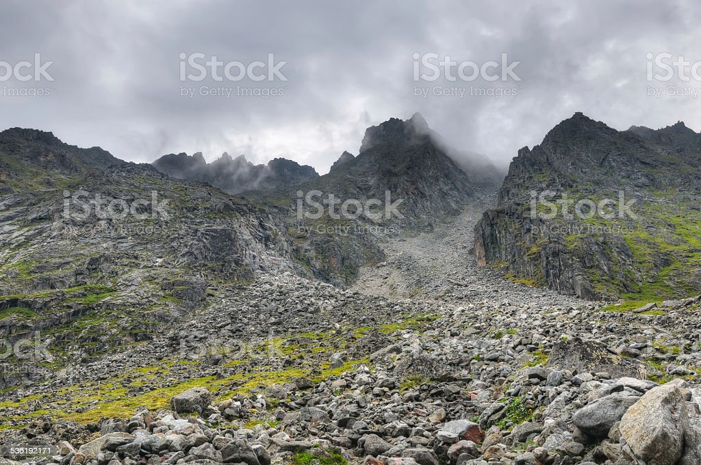 Climbing the heights. July. Eastern Sayan stock photo