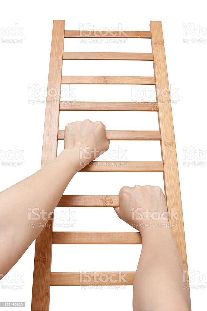 Climbing the Ladder (Clipping path) isolated on white background royalty-free stock photo