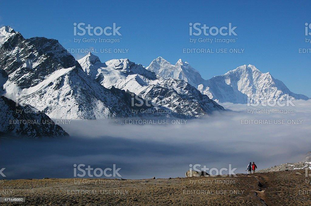 Climbing to Gokyo Ri, Everest region Nepal Himalaya stock photo