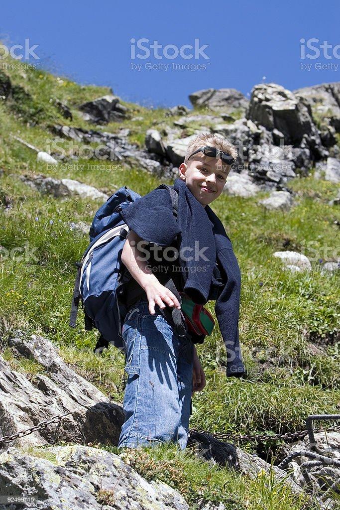 Climbing to mountain refuge Nacamuli royalty-free stock photo