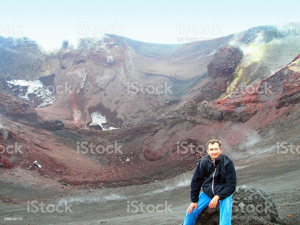 Escalada para el montaje superior al volcán Etna. foto de stock libre de derechos