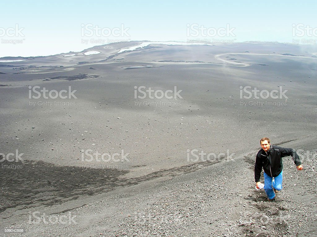 Climbing to top Mount Etna. royalty-free stock photo