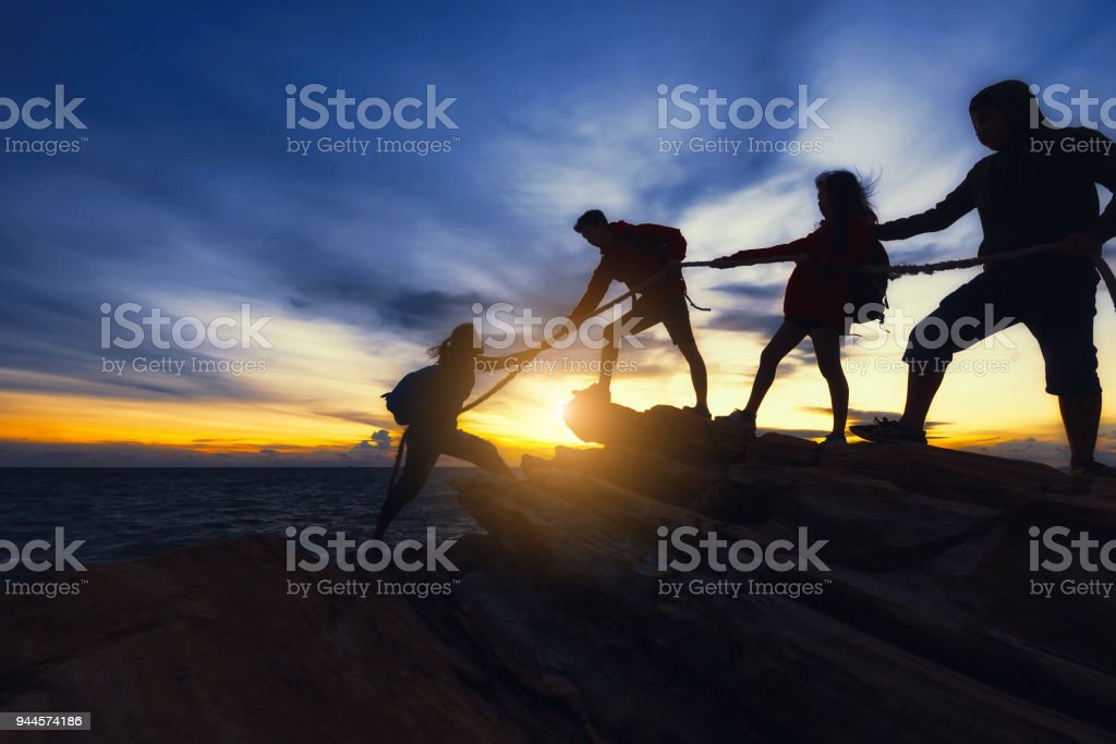 Climbing up on the mountain. stock photo