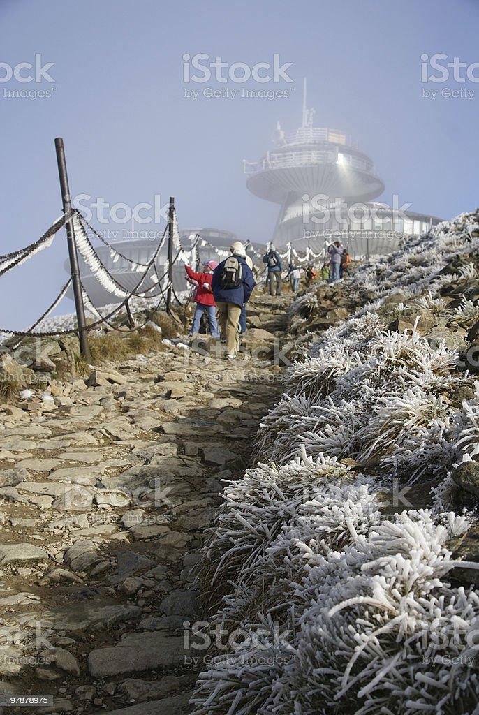 Climbing up Sniezka royalty-free stock photo