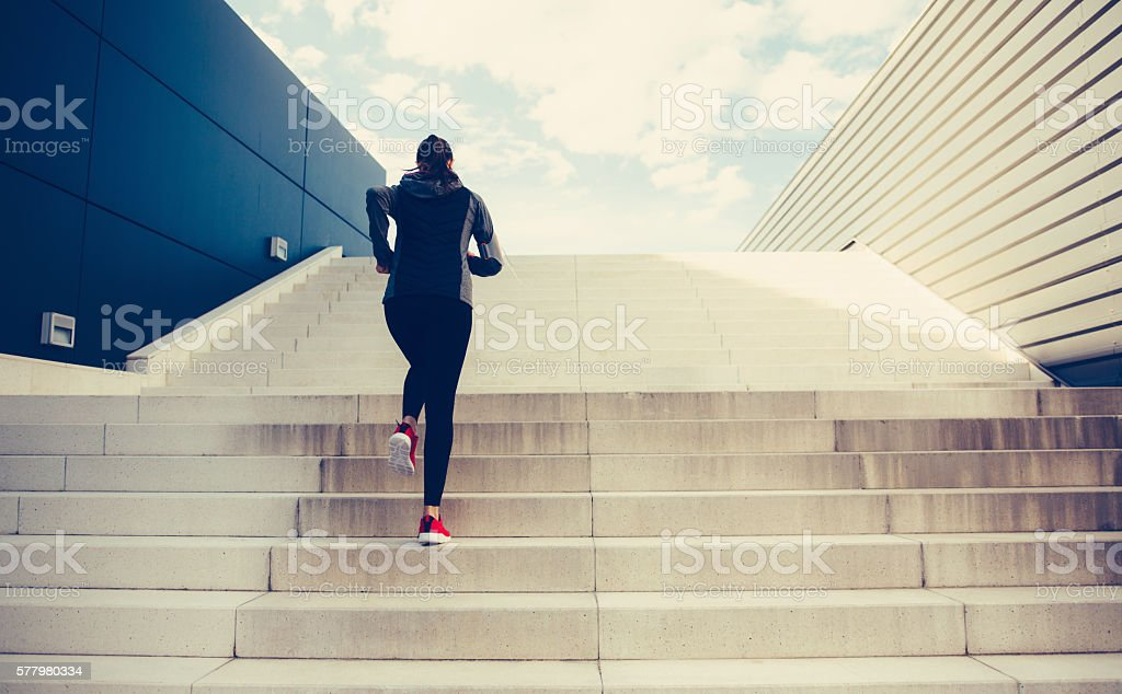 Climbing Up The Stairs stock photo