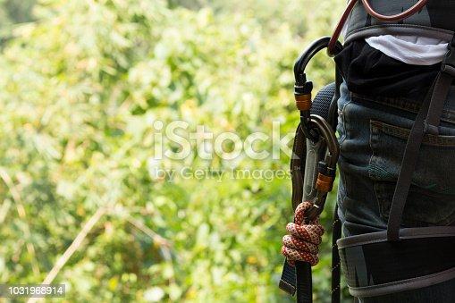 climbing , zipline equipment in blur background.professional climbing gear