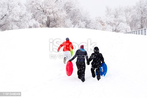 This woman and her two kids are climbing a short sledding hill during a snowstorm in hopes of haing some winter fun.