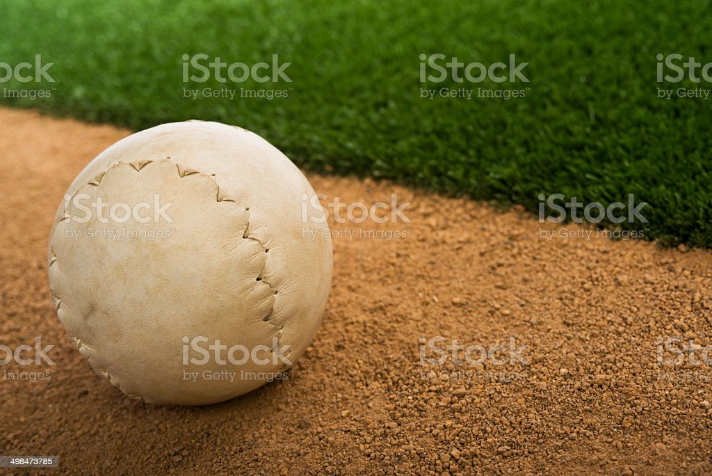 Clincher Softball on infield dirt stock photo