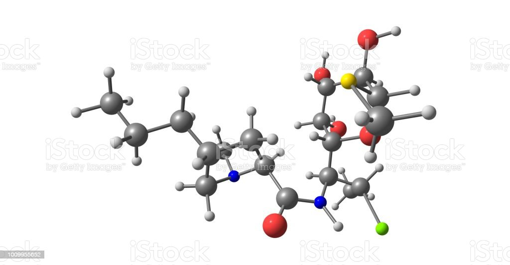 Clindamycin molecular structure isolated on white stock photo