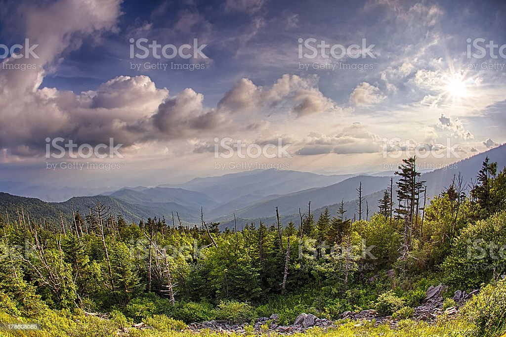 Clingmans Dome in bright conditions under a cloudy sky stock photo