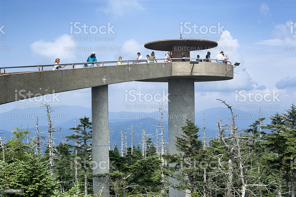 Clingmans Dome Observation Tower in Great Smoky Mountains National Park stock photo