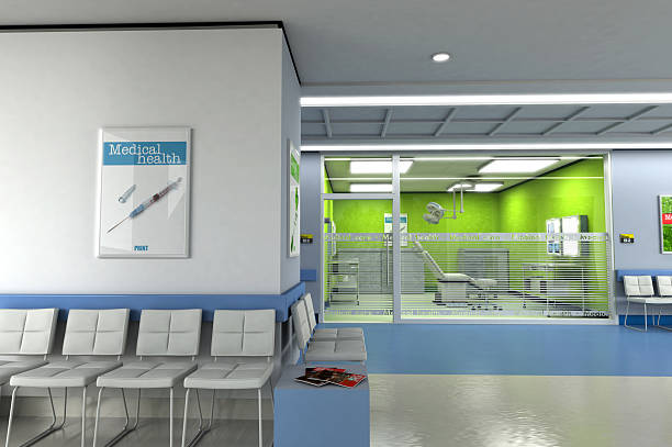 Clinic waiting room 3D rendering of a clinics waiting room with an operating room in the background. Please note that the logos and writtings on the glass were made up by me, and all images in posters, magazines, etc.. are of my creation, please see attached release outpatient stock pictures, royalty-free photos & images