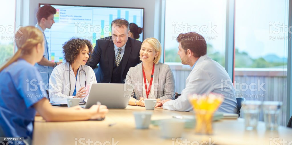 clinical meeting with business stock photo
