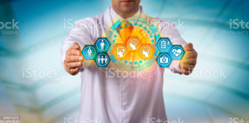 Clinician Integrating Patient Data With Smart AI stock photo