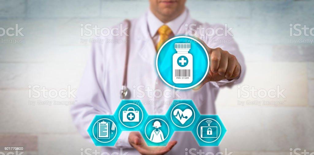 Clinician Offering Telemedicine Prescription Update stock photo
