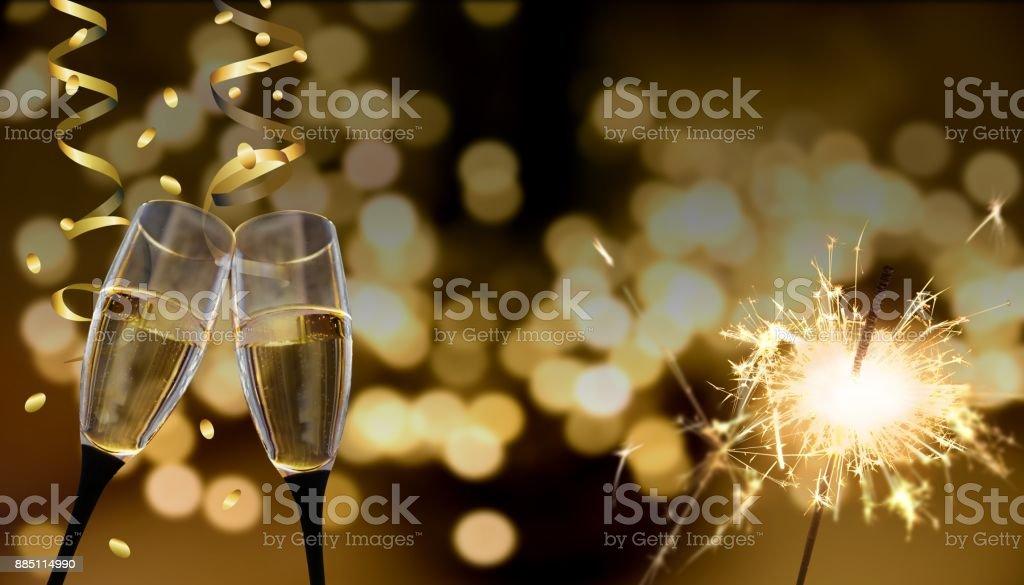 clink glasses - New Year's Eve / celebration stock photo