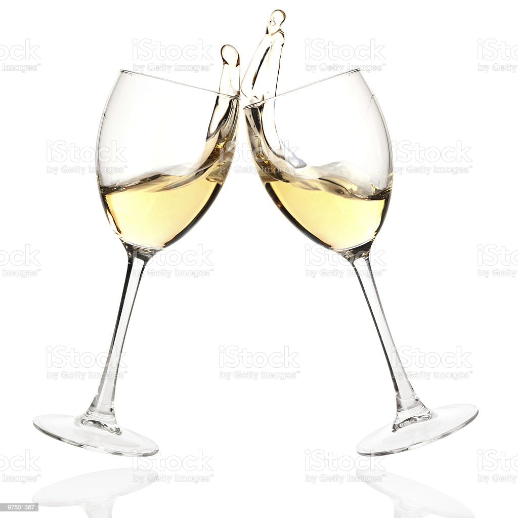 Clink glasses with white wine royalty-free stock photo