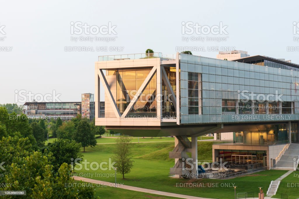 Clinton Presidential Library and Museum at sunrise stock photo