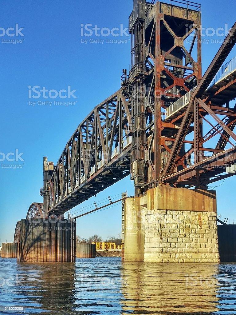 Clinton Presidential Park Walking Bridge, Shore Line, Little Rock, Arkansas stock photo