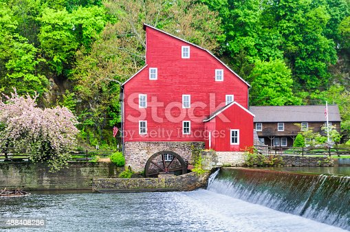 Waterfall at the dam of the old red mill in Clinton, New Jersey