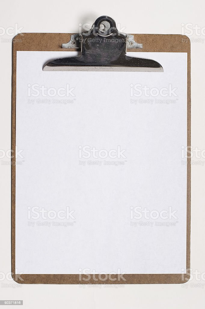 Clip Board with Blank Paper royalty-free stock photo