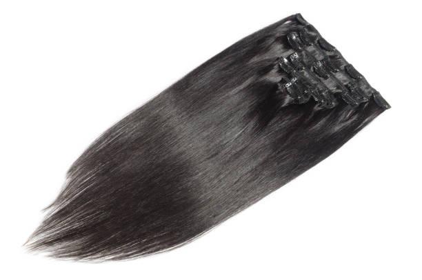 gerade schwarze echthaar clip-in webt extensions - haarverlängerung stock-fotos und bilder