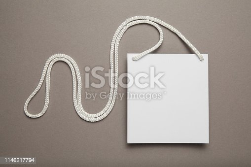 istock Clip pass on gray background, identification tag. Copy space 1146217794