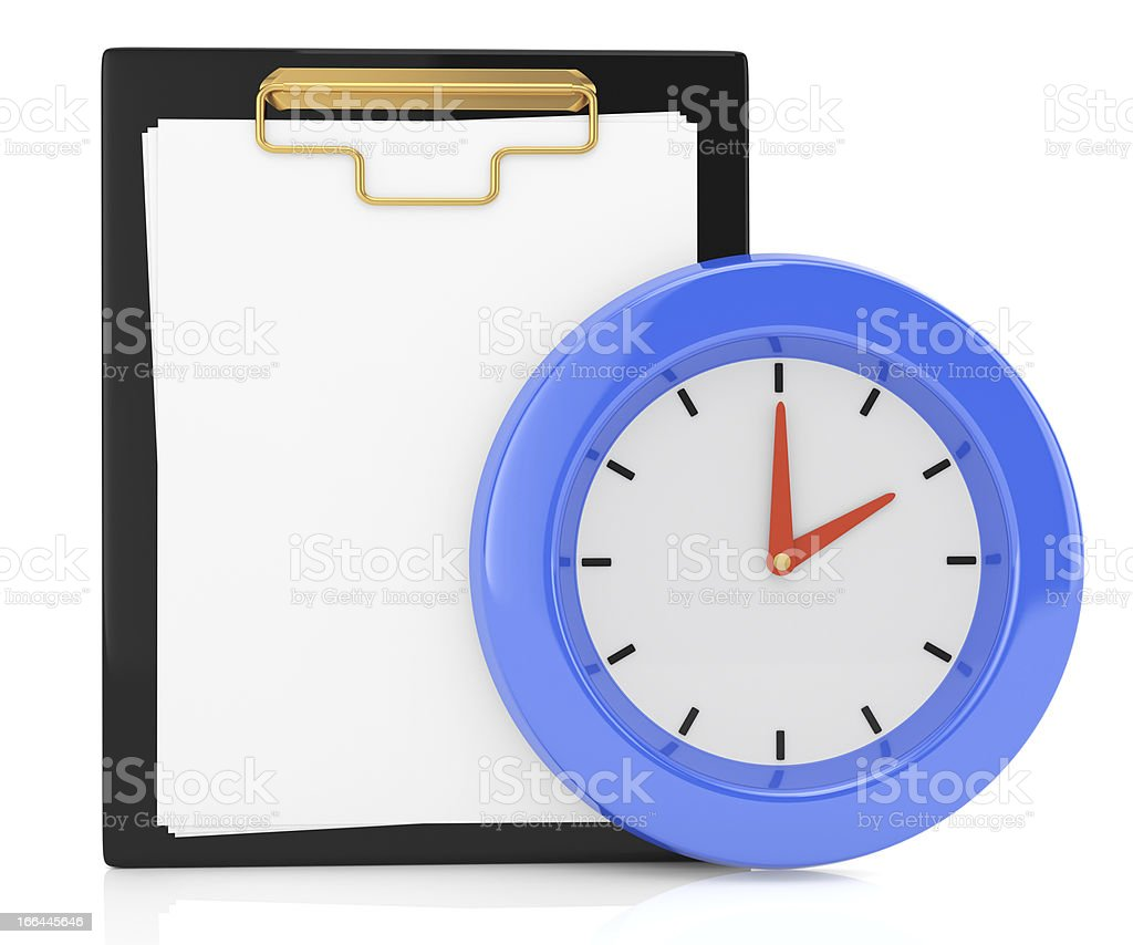 clipboard and clock royalty-free stock photo