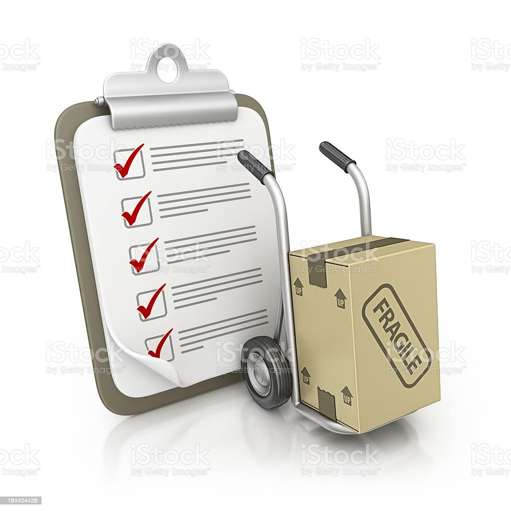 clipboard and hand truck royalty-free stock photo