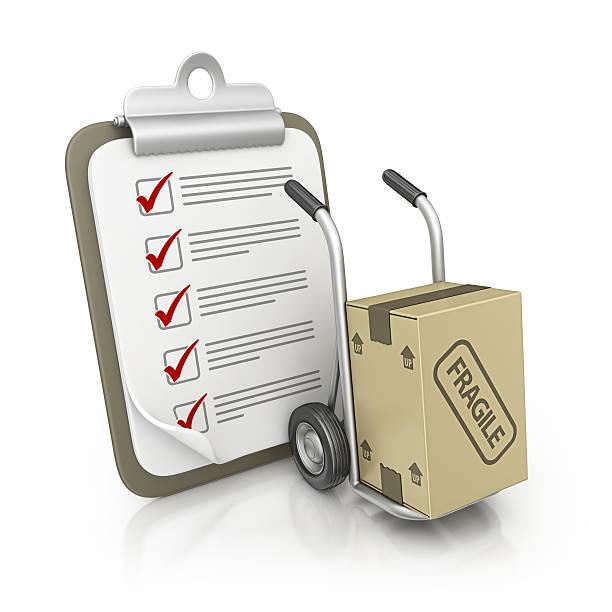 klemmbrett und hand truck - umzug checkliste stock-fotos und bilder