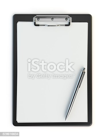 524051315istockphoto Clipboard and pen isolated on white with copy space. 528616634