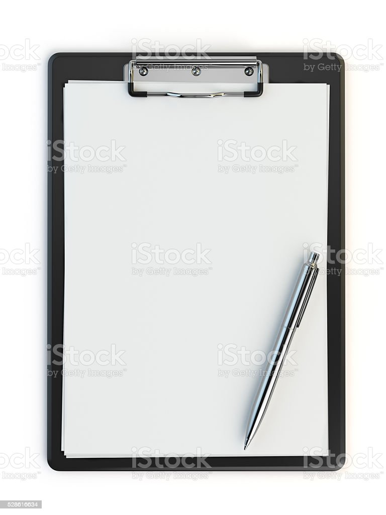 Clipboard and pen isolated on white with copy space. stock photo