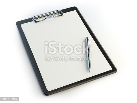 524051315istockphoto Clipboard and pen isolated on white with copy space. 531167660